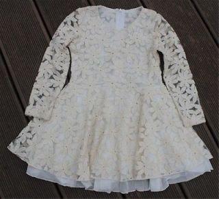 New Cute Baby Girls Kids Children Princess Dress Clothes Long Sleeve Lace Beige