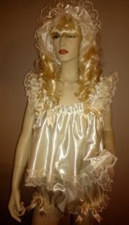 Sissy Maid Adult Baby Sheer Frilly Cream Babydoll Dress Full Panties Headband