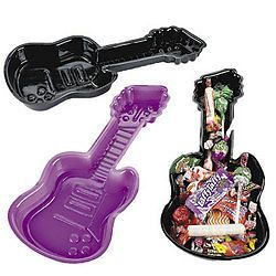 6 Guitar Plastic Party Trays Snack Plate Rock Star Diva Western Birthday Supply