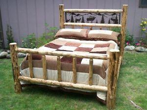 Queen Rustic Pine Log Bed w Wildlife Iron Scene Lodge Cabin Elk Moose Bear