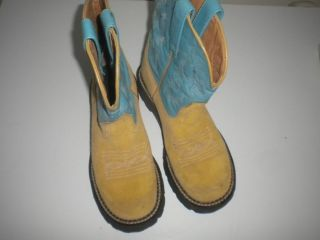 Ariat Fat Baby Womens Size 7 1 2 B Tan Light Blue Leather Cowboy Boots