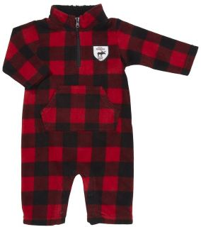 "NWT Carter's Infant Boys Red Black Plaid Microfleece Jumpsuit ""Little Ranger"""