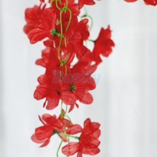 Artificial Hanging Red Azalea Garland Silk Flower Vine Wedding Home Garden Decor