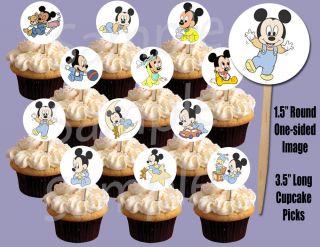 """Baby Mickey 1 5"""" Circle Image Cupcake Picks Cake Toppers 12pcs"""