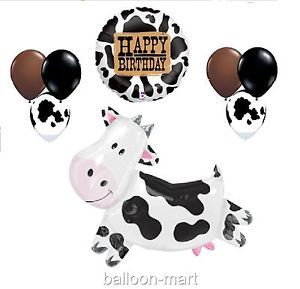 Balloons Farm Cow Birthday Party Supplies Set Kit Spotted Latex Mylar Western XL