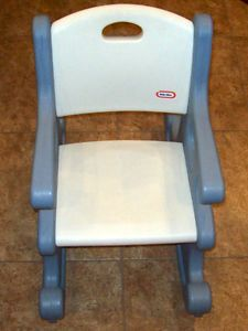 Little Tikes Blue White Child Size Victorian Rocking Chair Very Nice Condition