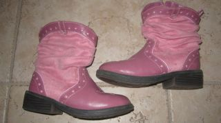 Faded Glory Pink Western Cowboy Cowgirl Boots Size 10 Toddler Girls GUC