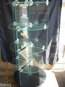 Round Retail Display Black Base w All Glass Shelving Unit Is Complete Spins