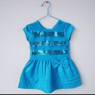 Brand New Baby Girl 3 24 Months Beautiful Blue Embroidered Dress with Bow