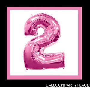 "Jumbo 34"" Pink Number 2 Balloon Birthday Megaloons Party Supplies Two 2nd Second"