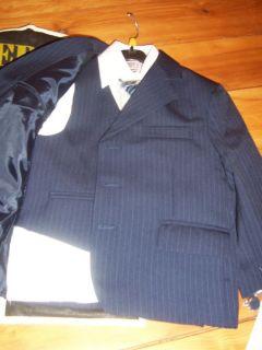 Teddys Boys Toddler Suit Navy Pinstripe Jacket Vest Pants Shirt Tie Size 2 New