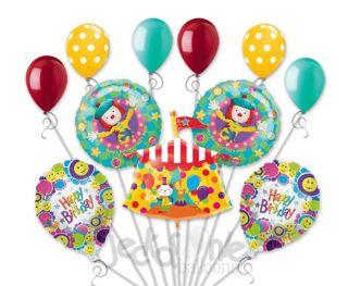 11 PC Lot JoJo's Circus Balloon Bouquet Decoration Birthday Party Clown Carnival