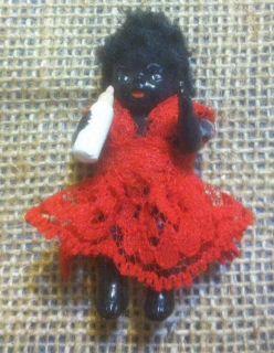 Miniature Black Baby Doll w Bottle