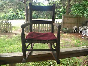 Early Antique Mule Ear Wood Wooden Child's Rocking Chair Furniture