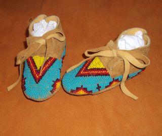 Awesome New Pair of LAKOTA Sioux Beaded Baby Moccasins