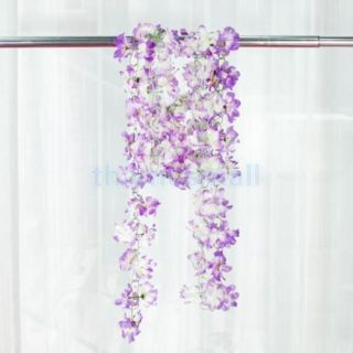 2pcs Purple Artificial Azalea Garland Silk Flower Vine Wedding Garden Decoration