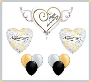 Happy Anniversary Heart Balloon Party Set Lot Mylar Foil Latex Bouquet