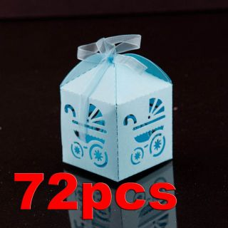 Blue Baby Carriage Favor Candy Box Party Baby Shower Decorations 72pcs