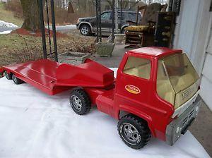 Vtg Tonka Truck Lowboy Flatbed Trailer Toy Pressed Steel 2pcs