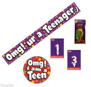 13th Birthday Teenager Party Pack Banner Balloons Candle Mega Badge Girl or Boy