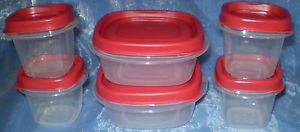 Rubbermaid 6 Easy Find Clear Plastic Food Storage Container BPA Free Red Lids