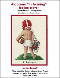 Alabama Bama Cross Stitch Pattern Football Player College in Training Children