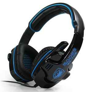 Sades Professional Stereo PC Games Gaming Headset Headphones w Microphone Blue