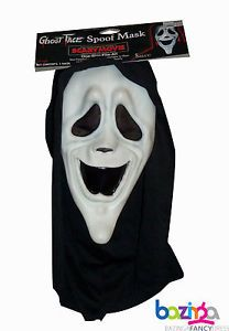 Official Scary Movie Smiley Rubber Face Mask Halloween Fancy Dress Accessory