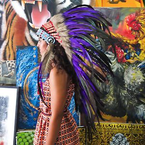 Real Chief Indian Headdress 95cm Feathers Native American Costume War Bonnet
