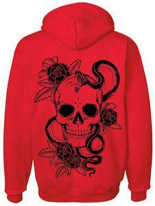 Skull Snake Rock Design Tattoo Graphic Band Music Unisex Zip Hoodie