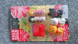 Kokeshi Japanese Doll Manekineko Lucky Cat Erasers