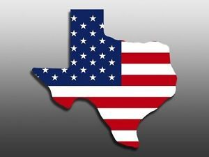 US Flag in Texas Shaped Sticker Decal Stickers Flags
