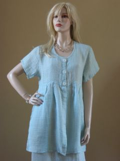 Flax 09 Hidden Buttons Baby Doll Tunic Top Seaglass s M
