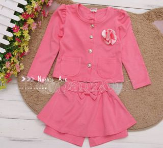 New Kids Toddlers Girls Pink Navy Blue Coat and Shorts Skirt Outfit Set sz2 7Y