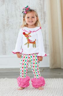 Mud Pie Girl Christmas Reindeer Tunic Colorful Polka Dots Ruffles Disco Pant Set