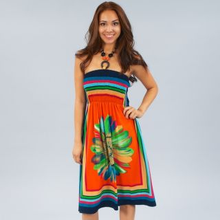 Chic Fun Sexy Color Block Beaded Stretch Halter Sun Dress Bold Floral Print
