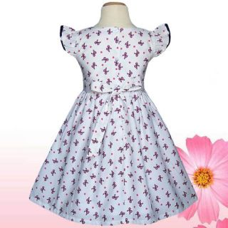 White Navy Pink Bow Birthday Party Baby Toddler Girls Dresses Clothing Sz 2T 3T