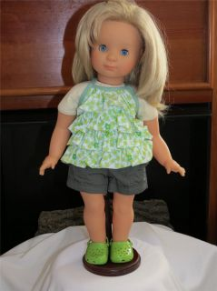 Clothes to Fit American Girl or Bitty Baby Doll Cute Green Shorts Set w Shoes