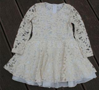 New Kids Girls White Gauze Princess Party Long Sleeve Lace Dress Age 2 7Y
