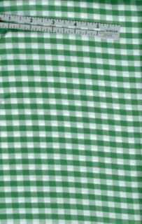 Green White Gingham Large Check Fabric per Yard