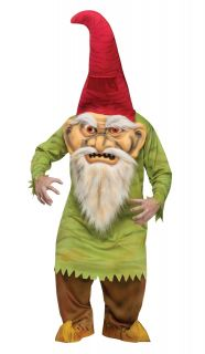 Evil Garden Gnome Costume Big Head Hunchback Troll Adult Teen Mens Standard