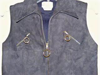 Vintage 60's Blue Suede Leather Go Go Micro Mini Mod Dress Sz M  Import