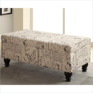 Coaster Storage Bench in French Script   500986