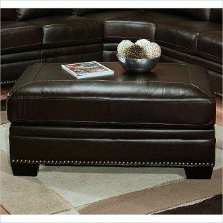 Abbyson Living Arizona Leather Ottoman in Dark Truffle   CI N410 BRN 4