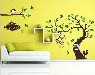 Large Tree Monkey Owl Baby Nursery Room Decor Wall Stickers Vinyl Art Decals