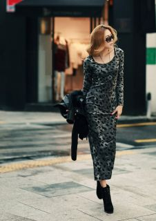 New Womens Fashion Sexy Gray Leopard Printed Full Length Long Sleeve Dress E595