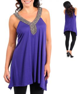 Regal Royal Purple Embellished Plus Trapeze Long Tunic Party Club Top