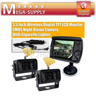 Car Rear View Kit LCD Monitor 2 Wireless Reverse Camera