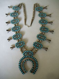 Signed Navajo Petitpoint Turquoise Sterling Silver Squash Blossom Necklace