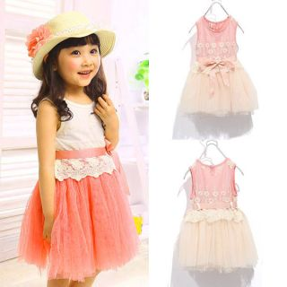 Girls Baby Lace One Piece Tutu Dress Bow Knot Belt Tulle Party Skirt Outfit 1 5Y